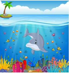 cartoon dolphin under the sea vector image vector image
