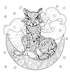 Cute fox on christmas half moon vector image