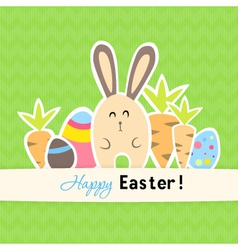 Eastern green card with carrots and rabbit vector image