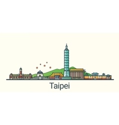 Flat line Taipei banner vector image