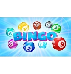 Lotto balls around the word Bingo glowing blue vector image