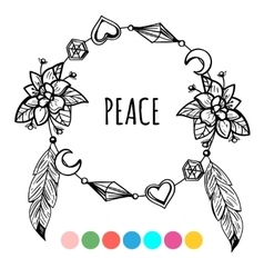 Vintage boho style coloring wreath vector image