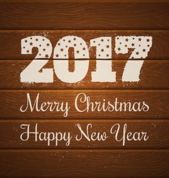 2017 on wooden background vector image