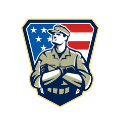 American Soldier Arms Folded Flag Retro vector image vector image