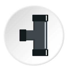 Black joint t pipe connection icon circle vector