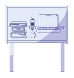 Blue shading silhouette of desk home office basic vector
