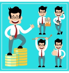 Cartoon businessman in style of flat design vector image