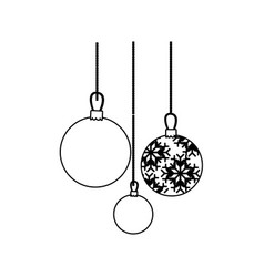 contour christmas balls hanging icon vector image