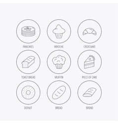Croissant cake and bread icons Muffin vector image vector image