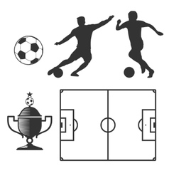 Soccer design elements in black isolated white vector image vector image