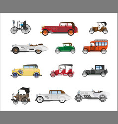antique vehicle colorful flat poster on vector image vector image