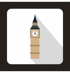 Big Ben in Westminster London icon flat style vector image