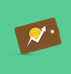 bitcoin wallet with coins isolated vector image