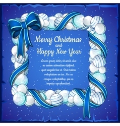 Christmas card with frame of white and blue balls vector image vector image