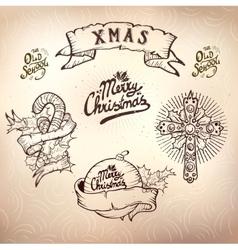 christmas tattoo set vector image vector image