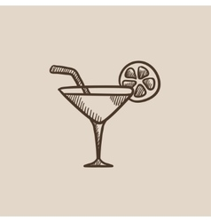 Cocktail glass sketch icon vector image vector image