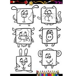 cute animals cartoon coloring book vector image vector image