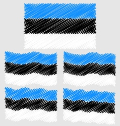 Flat and waving hand draw sketch flag of estonia vector