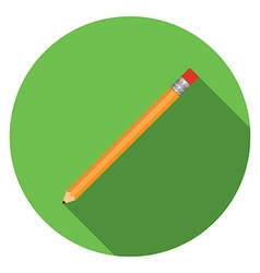 Flat design modern of pensil icon with long shadow vector image vector image