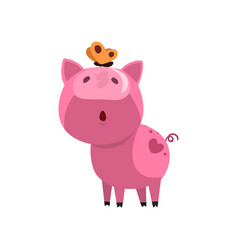 pink funny curious pig with a butterfly on its vector image
