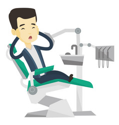 scared patient in dental chair vector image vector image