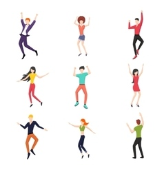 Set of dancing people in flat style vector image
