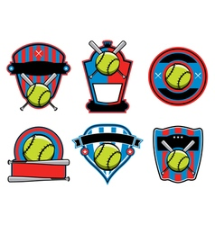 Softball Badges and Emblems vector image vector image