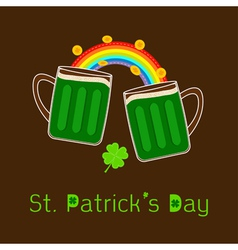 St Patricks Day Two green beer glass rainbow coin vector image