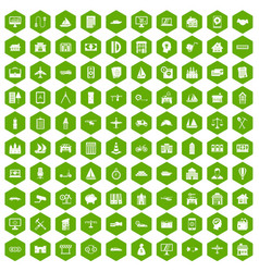 100 private property icons hexagon green vector