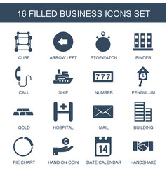 16 business icons vector