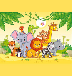 african landscape with cute animals large vector image