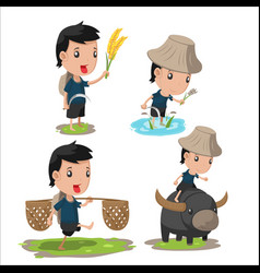 Asian farmer cartoon character set vector