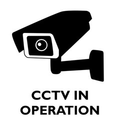 Attention cctv in operation sign vector