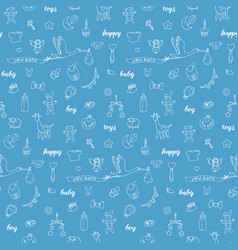 baby boy doodle and lettering seamless pattern vector image