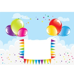balloons and banner in the sky vector image