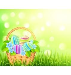 Basket with easter eggs on bokeh light effect vector