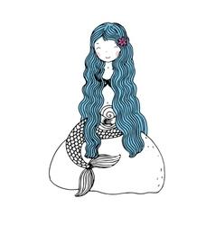 Beautiful little mermaid with shells Siren vector