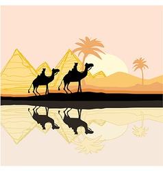 Bedouin camel caravan in wild africa landscape vector image