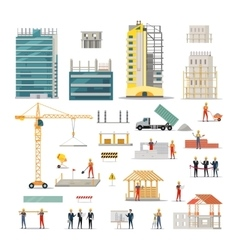 Building Kinds of Various Works on Construction vector