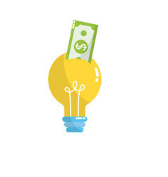 Bulb idea with bill cash money vector