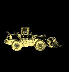 bulldozer isolated on black background vector image