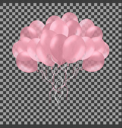 Bunch of colorful pink rose helium balloons vector