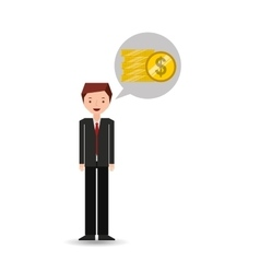 Business man cartoon and coins money vector