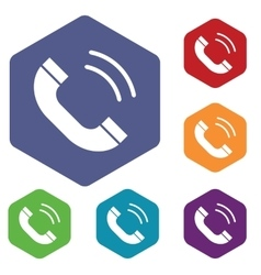 Calling icon colored hexagon set vector