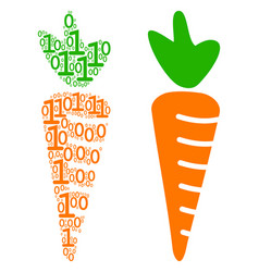 carrot composition of binary digits vector image