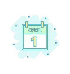 cartoon colored april 1 fool day calendar icon in vector image
