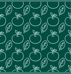 cartoon fresh apple doodle fruits in flat style vector image