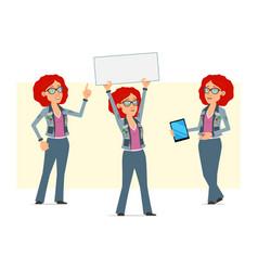 Cartoon redhead hippie woman character set vector