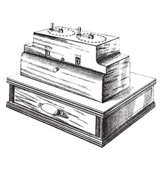 Cash register and indicator vintage vector