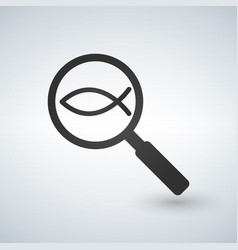 christian fish in magnifying glass on sample vector image